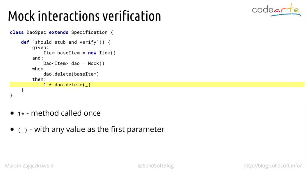 Mock interactions verification class DaoSpec ex...