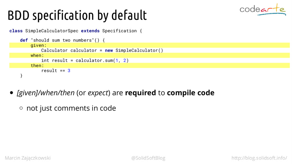 BDD specification by default class SimpleCalcul...