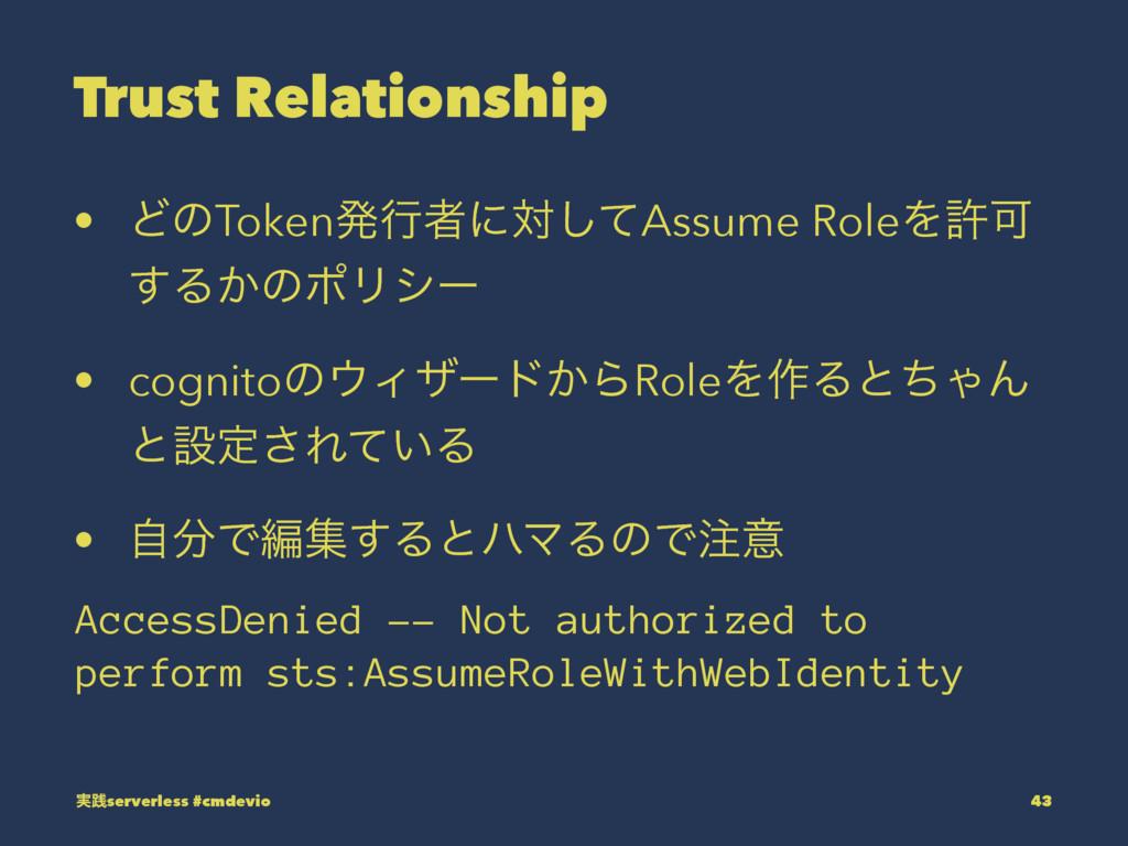 Trust Relationship • ͲͷTokenൃߦऀʹରͯ͠Assume RoleΛ...
