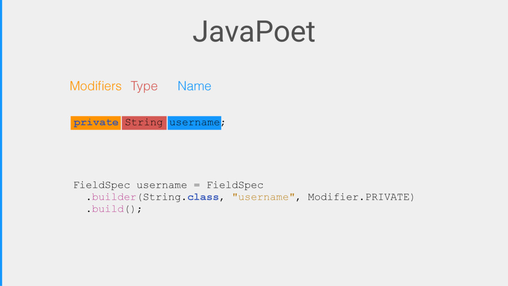 JavaPoet FieldSpec username = FieldSpec .builde...