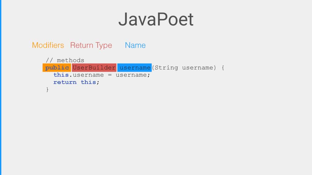 JavaPoet Modifiers Return Type Name // methods p...