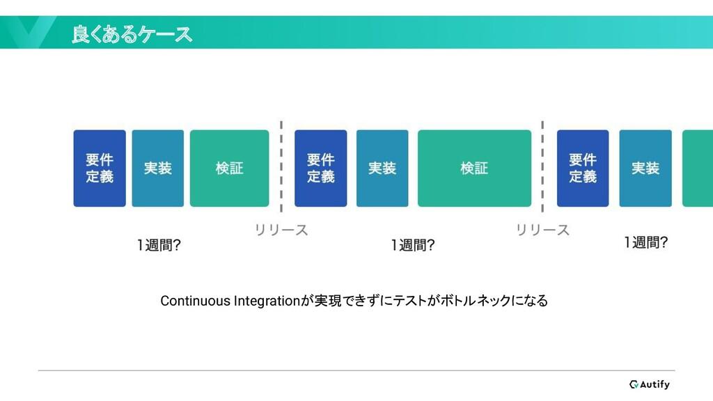 良くあるケース Continuous Integrationが実現できずにテストがボトルネック...