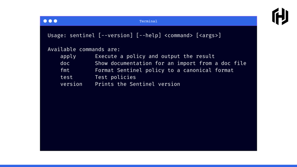 Terminal Usage: sentinel [--version] [--help] <...