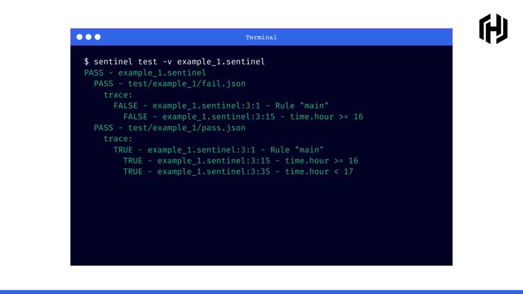 Terminal $ sentinel test -v example_1.sentinel ...