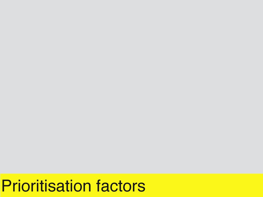 Prioritisation factors
