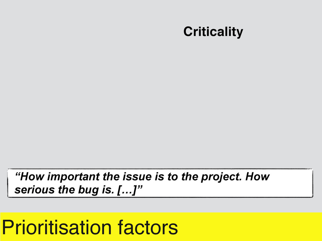 """Prioritisation factors """"How important the issue..."""
