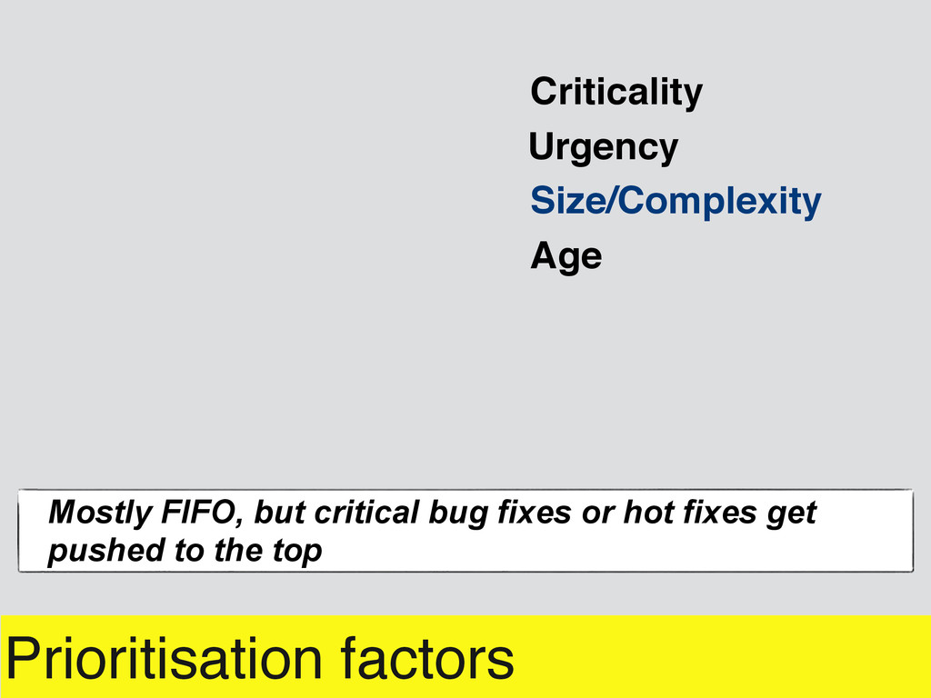 Prioritisation factors Urgency Mostly FIFO, but...