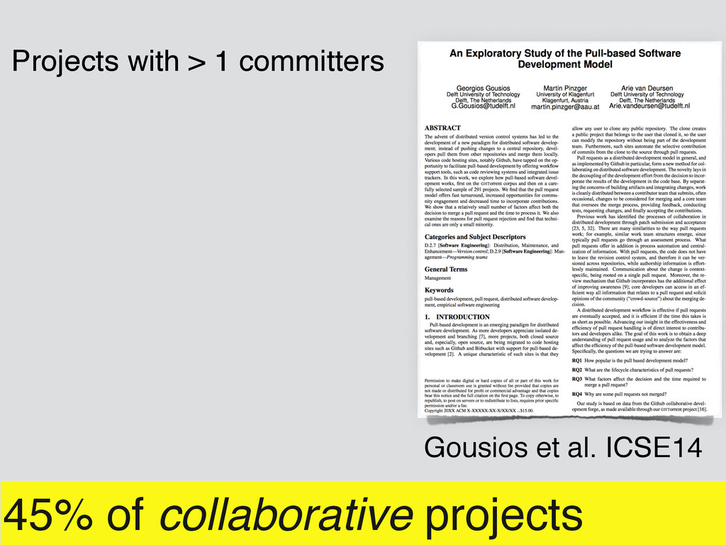 45% of collaborative projects Projects with > 1...