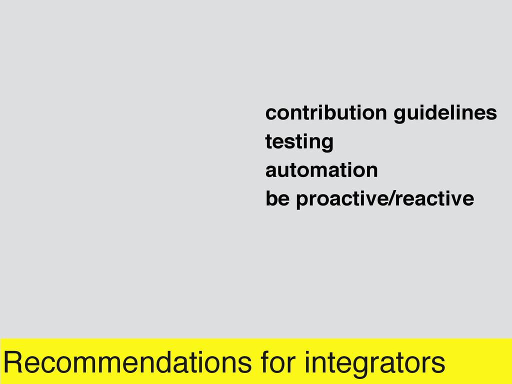 Recommendations for integrators automation cont...