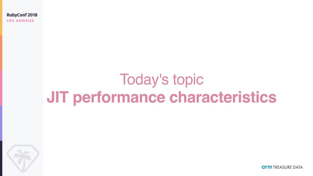 Today's topic JIT performance characteristics