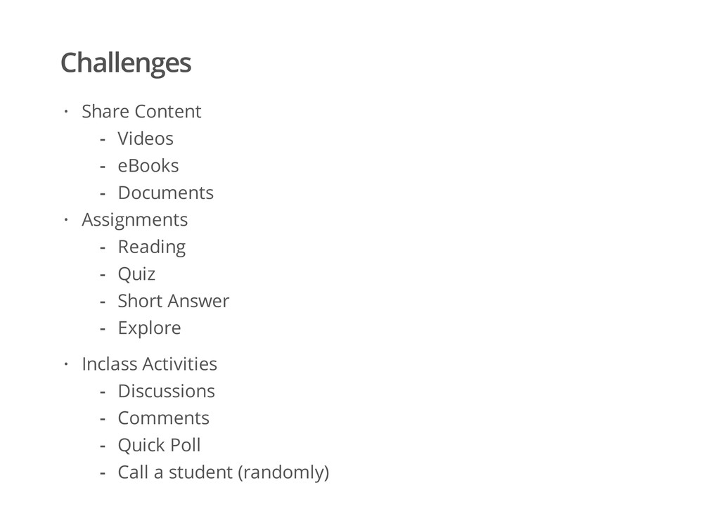 Challenges Share Content Assignments · Videos e...