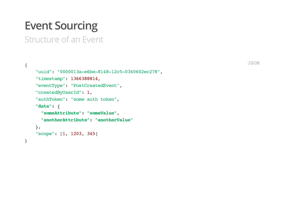 """Event Sourcing Structure of an Event { """" u u i ..."""