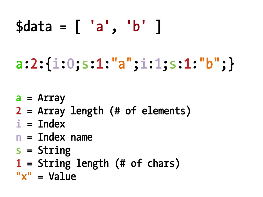 $data = [ 'a', 'b' ] a = Array 2 = Array length...
