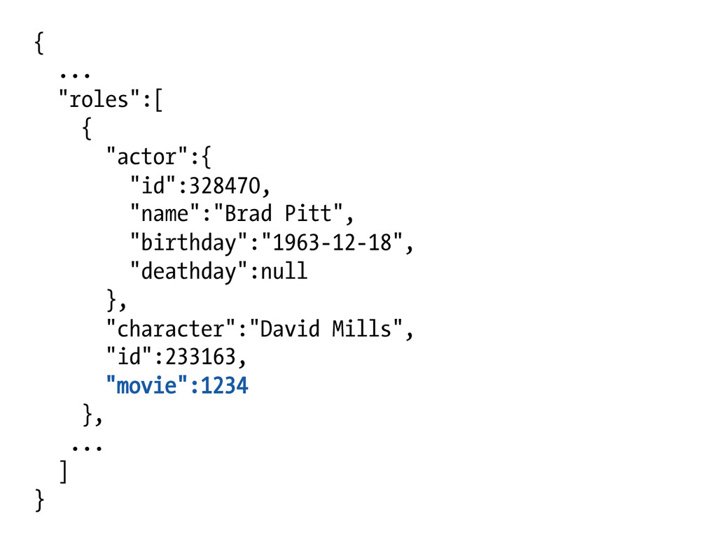 "{ ... ""roles"":[ { ""actor"":{ ""id"":328470, ""name""..."