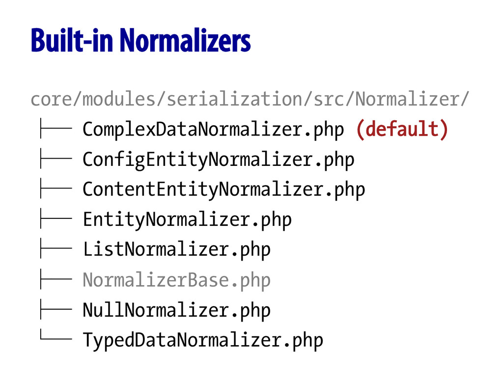 Built-in Normalizers core/modules/serialization...