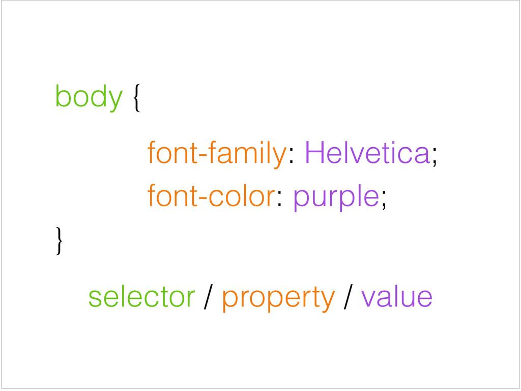body {     font-family: Helvetica;  ...