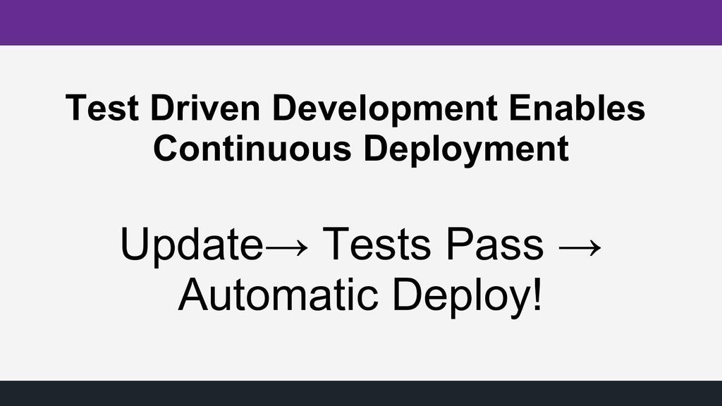 Test Driven Development Enables Continuous Depl...