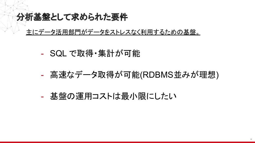 分析基盤として求められた要件 11 - SQL で取得・集計が可能 - 高速なデータ取得が可能...