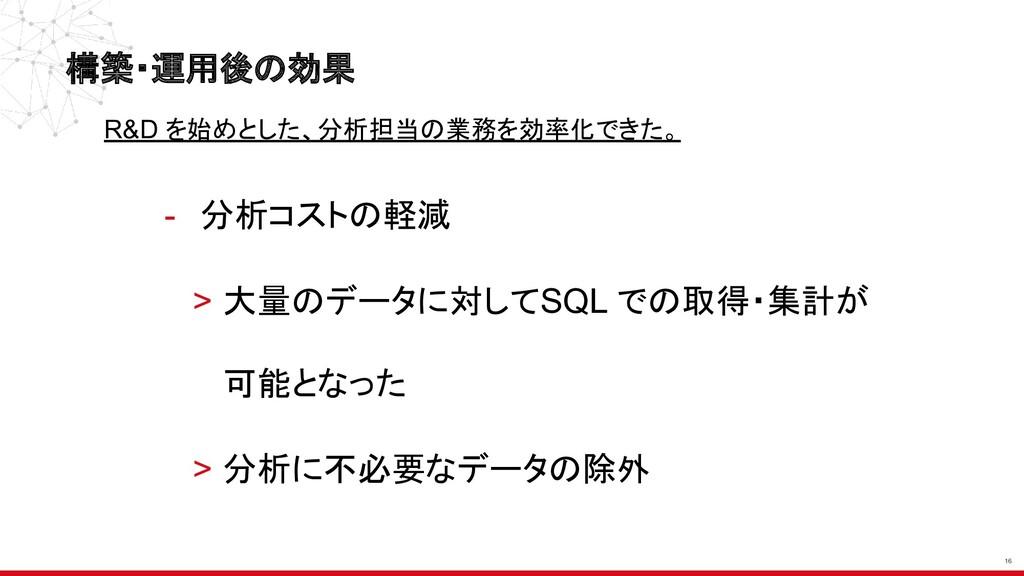 - 分析コストの軽減 > 大量のデータに対してSQL での取得・集計が 可能となった > 分析...