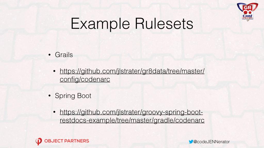 @codeJENNerator Example Rulesets • Grails • htt...