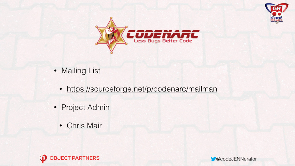 @codeJENNerator • Mailing List • https://source...