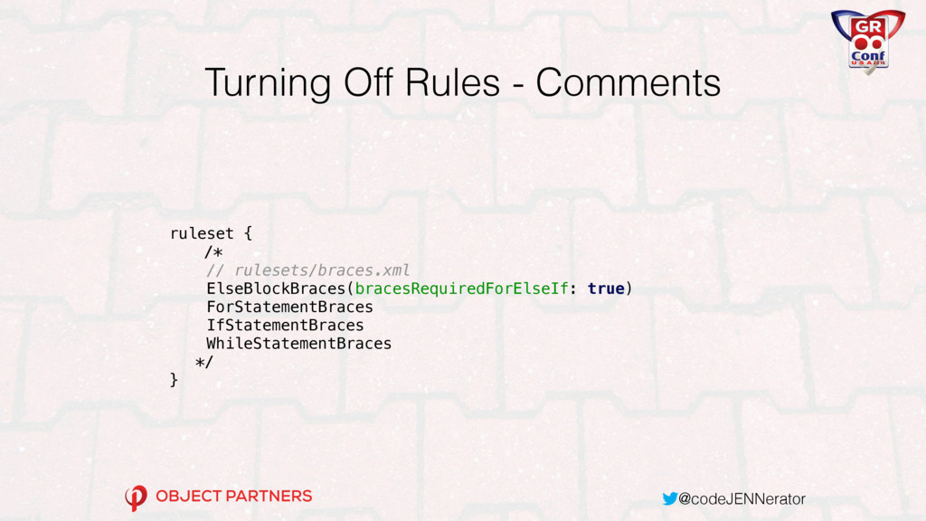 @codeJENNerator Turning Off Rules - Comments ru...