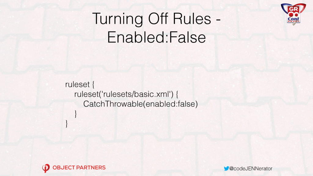 @codeJENNerator Turning Off Rules - Enabled:Fal...