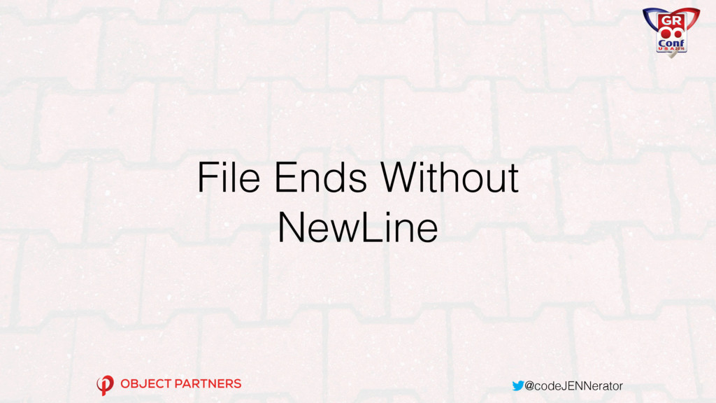 @codeJENNerator File Ends Without NewLine