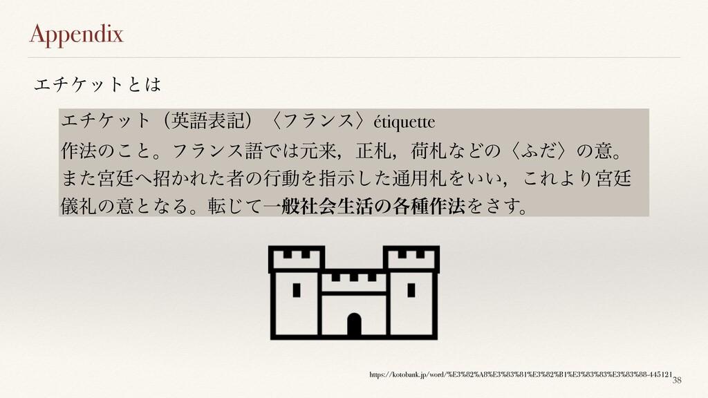 Appendix 38 Τνέοτͱ Τνέοτʢӳޠදهʣʪϑϥϯεʫétiquette ...