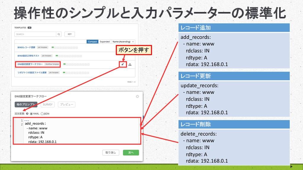 操作性のシンプルと入力パラメーターの標準化 14 レコード追加 add_records: - ...