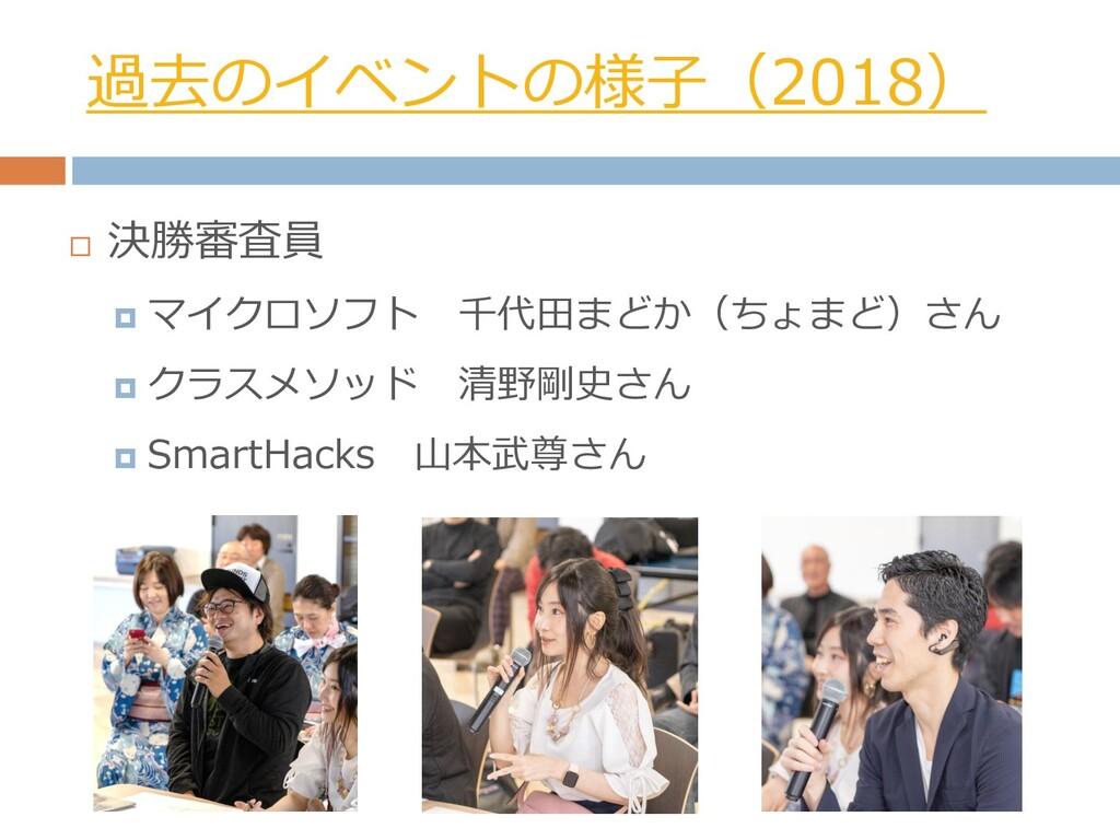 過去のイベントの様子(2018)  決勝審査員  マイクロソフト 千代田まどか(ちょまど)...