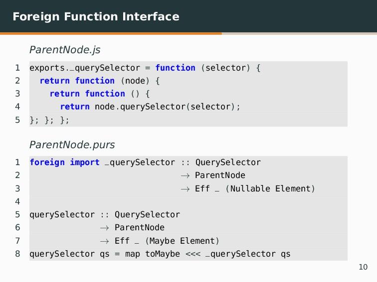 Foreign Function Interface ParentNode.js 1 expo...