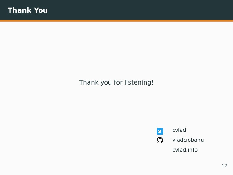 Thank You Thank you for listening! cvlad vladci...