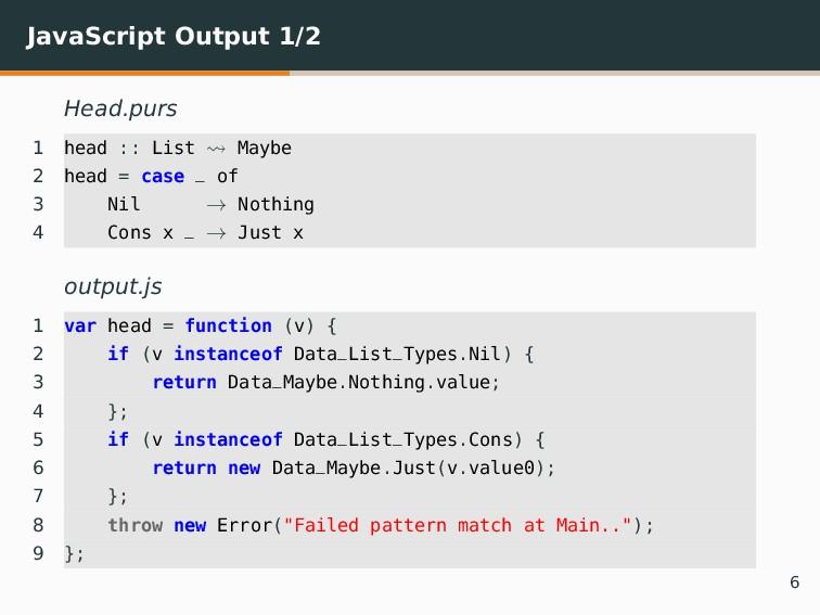 JavaScript Output 1/2 Head.purs 1 head :: List ...