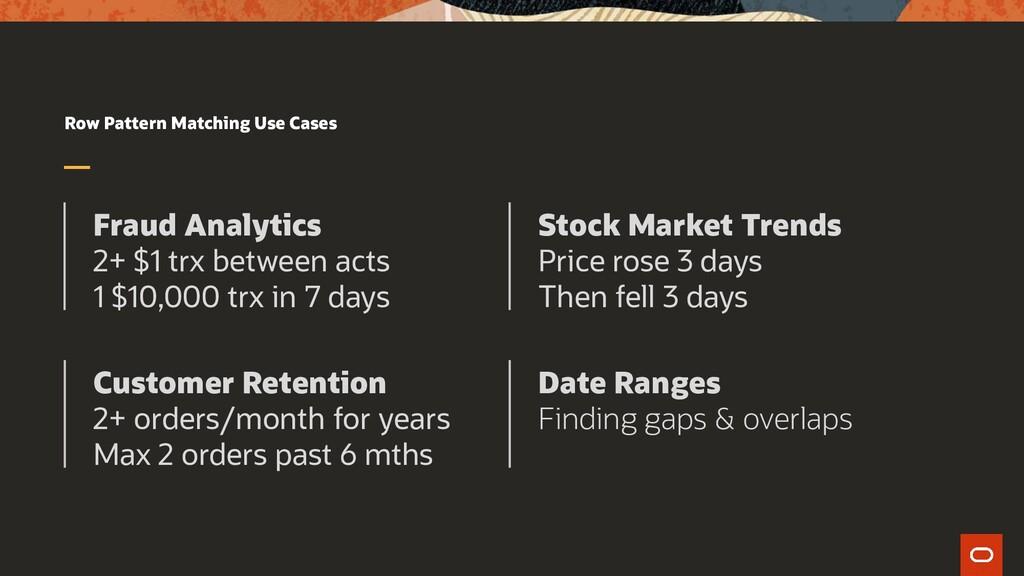 Row Pattern Matching Use Cases Fraud Analytics ...