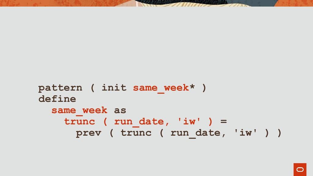 pattern ( init same_week* ) define same_week as...