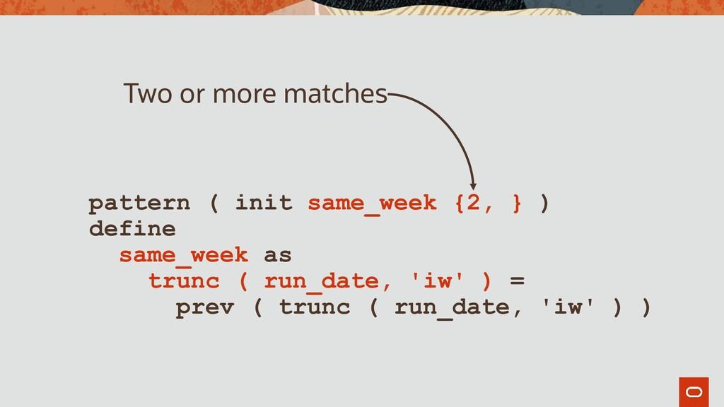pattern ( init same_week {2, } ) define same_we...