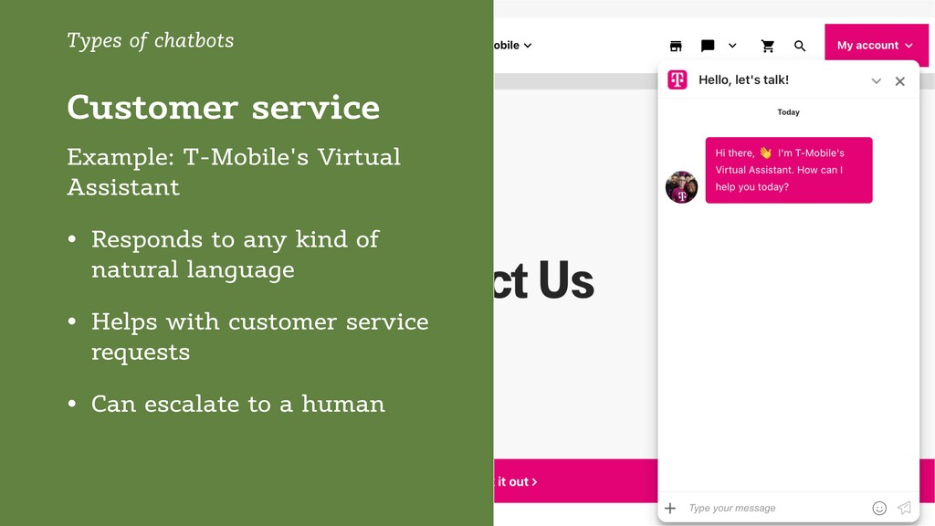 Customer service Types of chatbots Example: T-M...