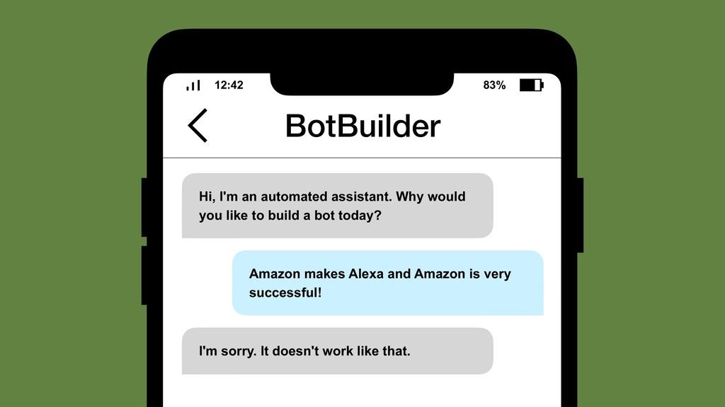 BotBuilder 12:42 83% Hi, I'm an automated assis...
