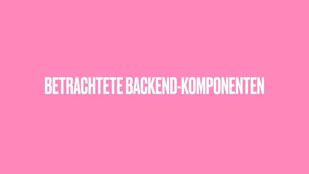 BETRACHTETE BACKEND-KOMPONENTEN