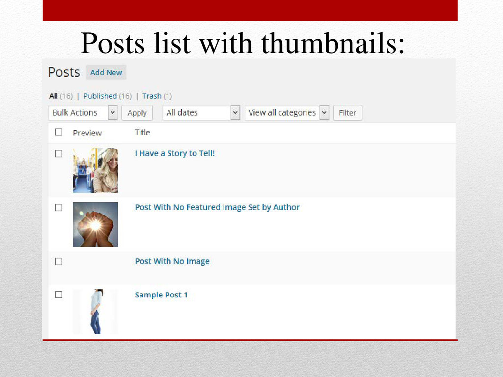 Posts list with thumbnails: