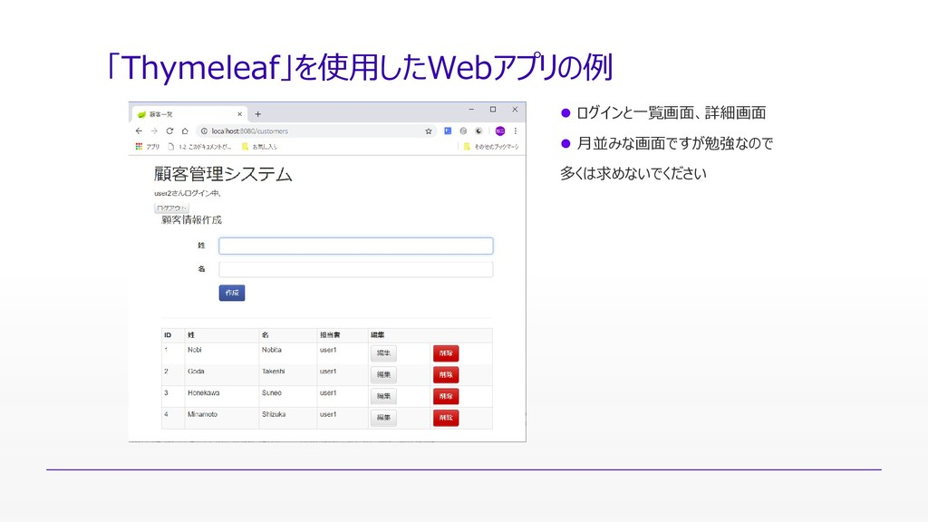 「Thymeleaf」を使用したWebアプリの例  ログインと一覧画面、詳細画面  月並み...