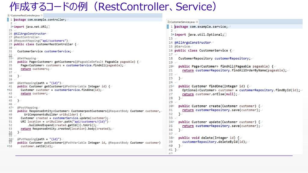 作成するコードの例(RestController、Service)