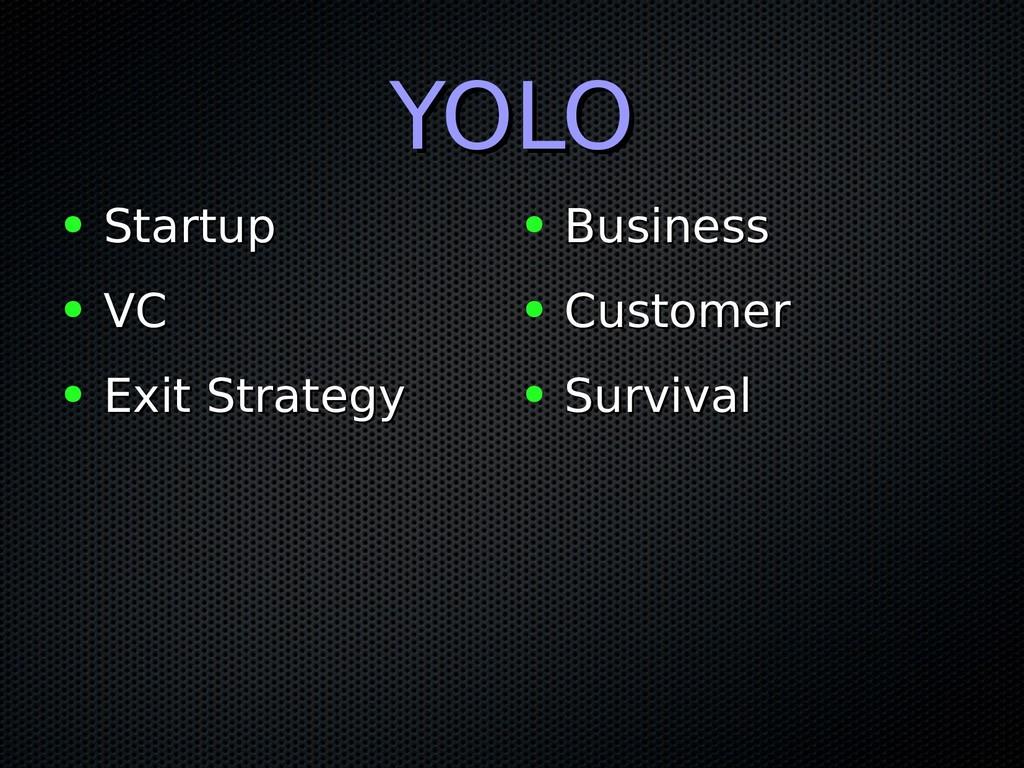 YOLO YOLO ● Startup Startup ● VC VC ● Exit Stra...