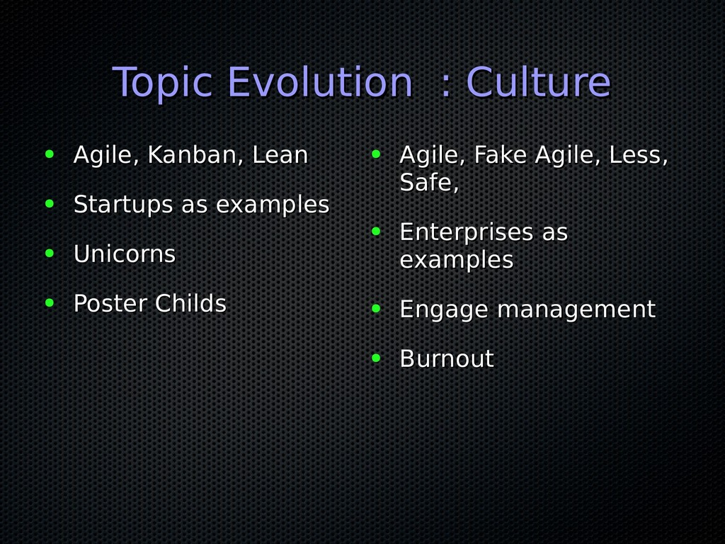 Topic Evolution : Culture Topic Evolution : Cul...