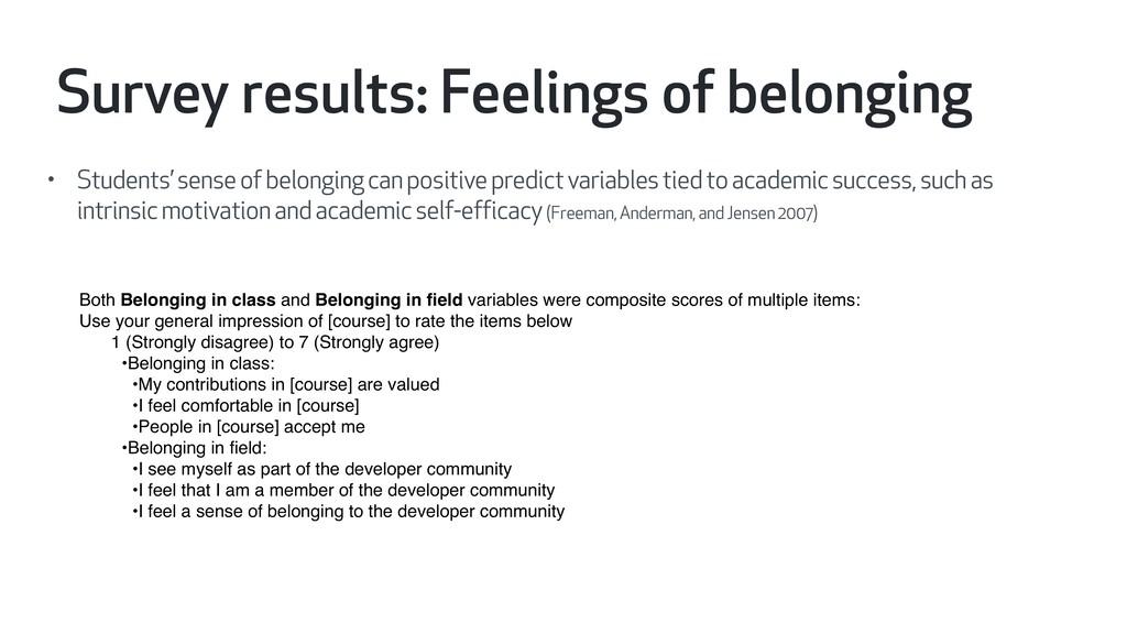 • Students' sense of belonging can positive pre...