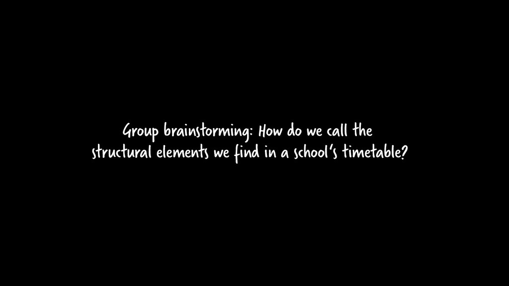 Group brainstorming: How do we call the structu...