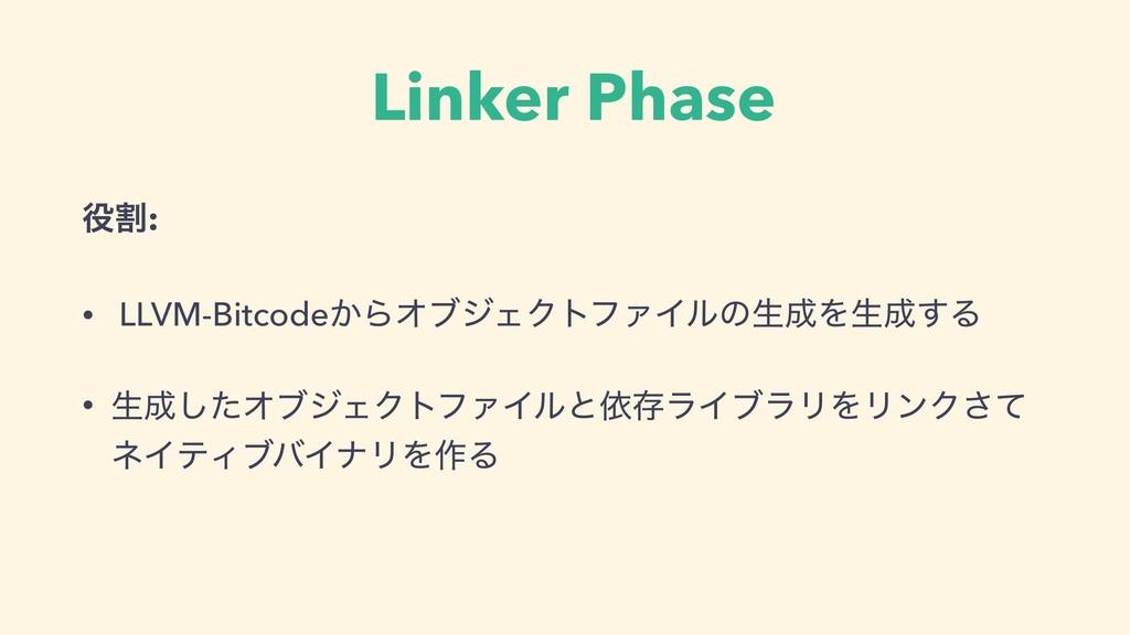 Linker Phase ׂ: • LLVM-Bitcode͔ΒΦϒδΣΫτϑΝΠϧͷੜΛ...