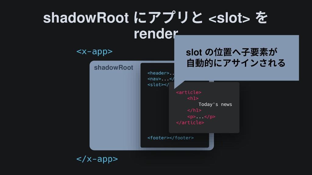 shadowRoot <slot> render shadowRoot slot