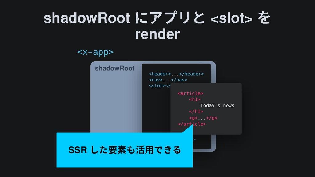 shadowRoot <slot> render shadowRoot SSR